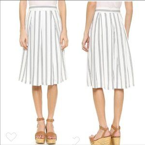 J.O.A. Black White Striped Pleated Midi Skirt